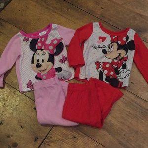 2 Sets Minnie Mouse Fleece Pajamas Girls 12m